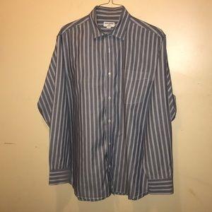 Men's Banana Republic Striped Gray Dress Shirt XL